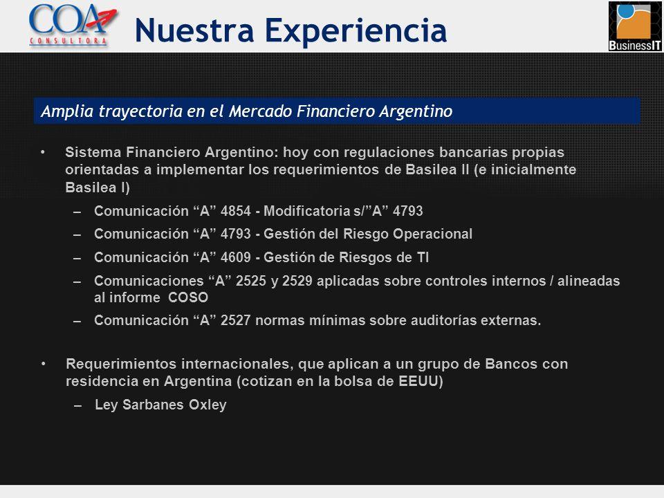 Nuestra Experiencia Amplia trayectoria en el Mercado Financiero Argentino.