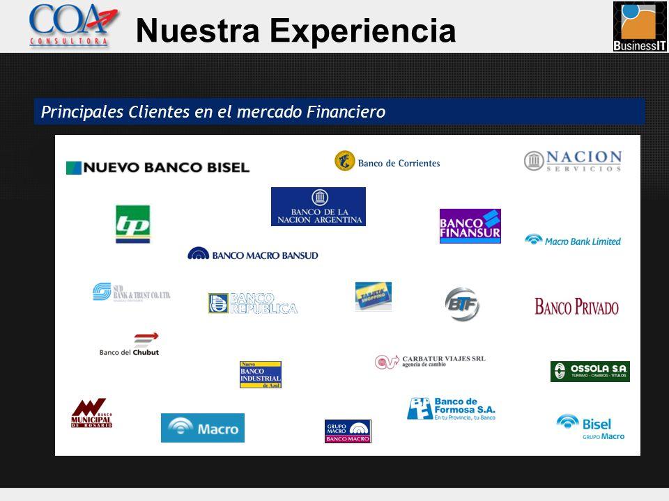 Nuestra Experiencia Principales Clientes en el mercado Financiero