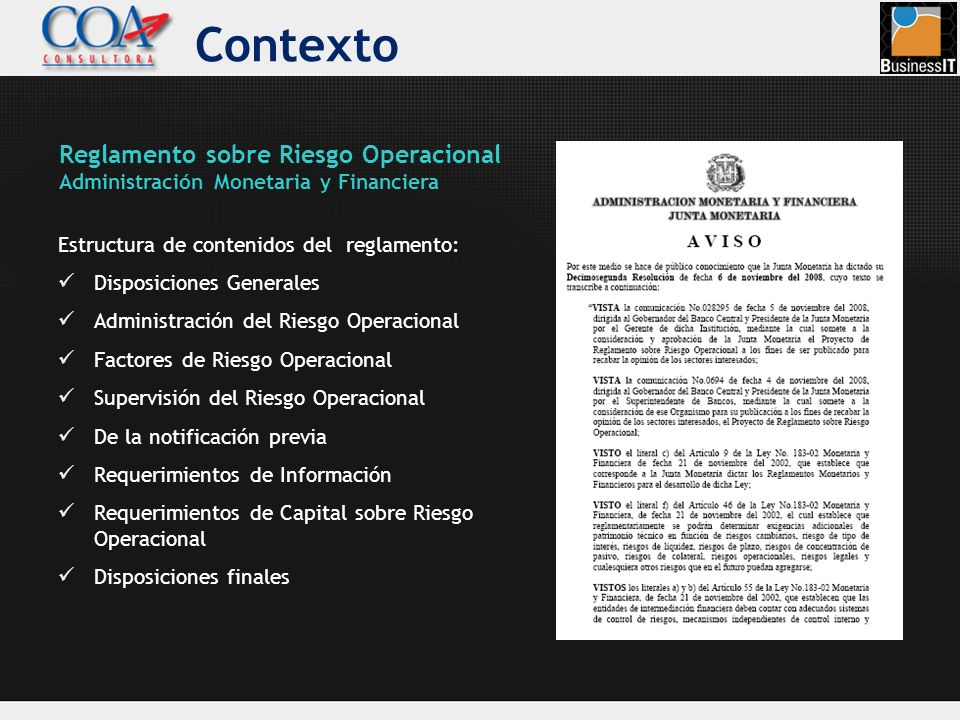 Contexto Reglamento sobre Riesgo Operacional