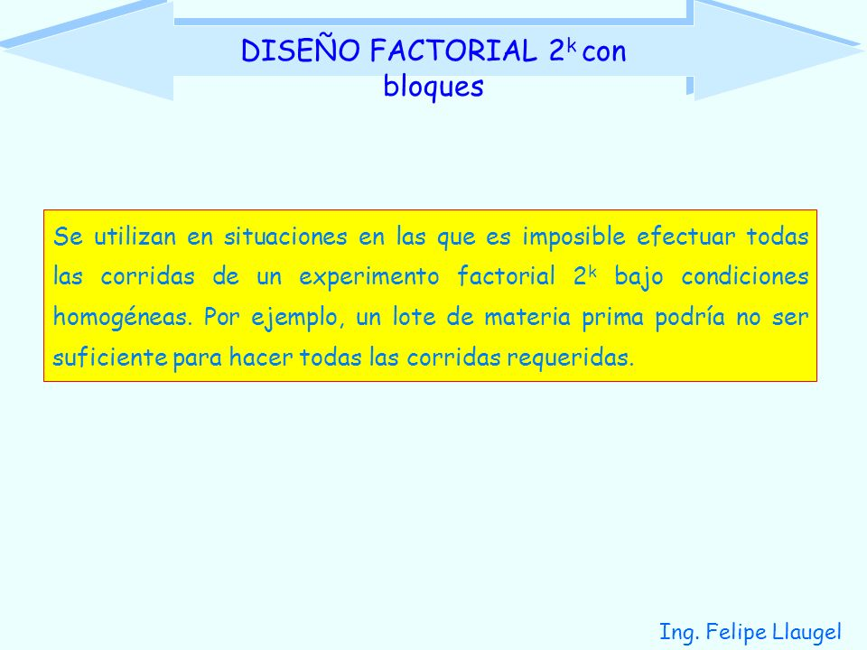 DISEÑO FACTORIAL 2k con bloques