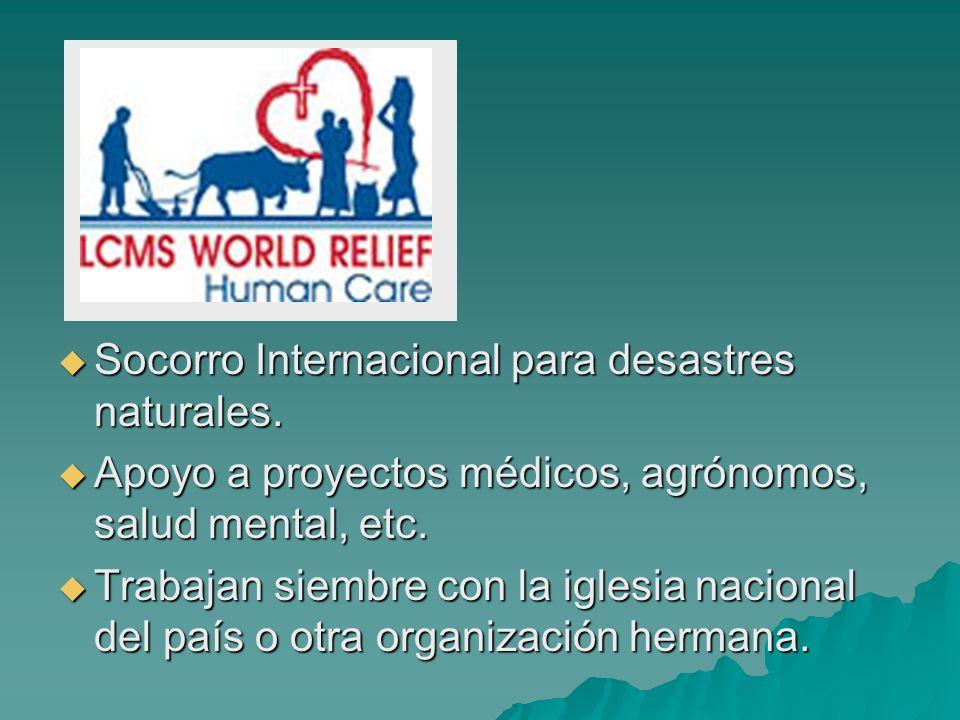 Socorro Internacional para desastres naturales.