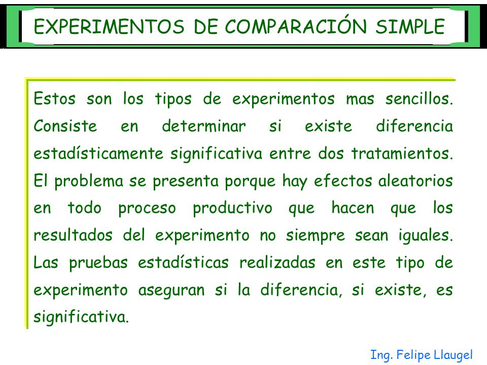EXPERIMENTOS DE COMPARACIÓN SIMPLE