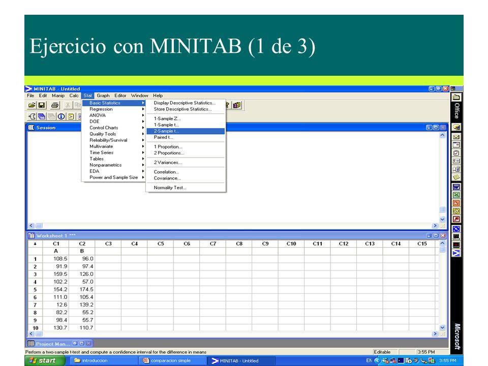 Ejercicio con MINITAB (1 de 3)