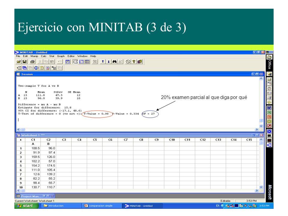 Ejercicio con MINITAB (3 de 3)