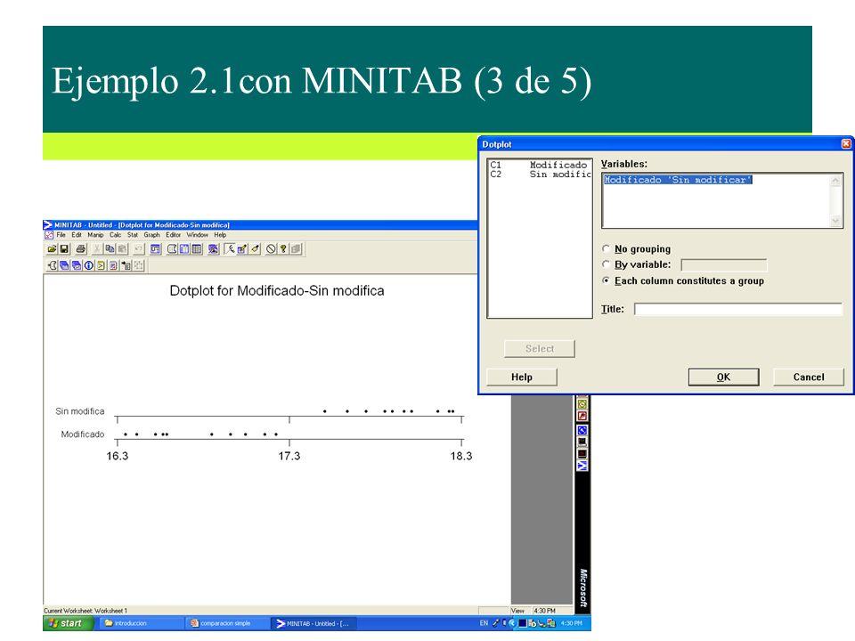 Ejemplo 2.1con MINITAB (3 de 5)