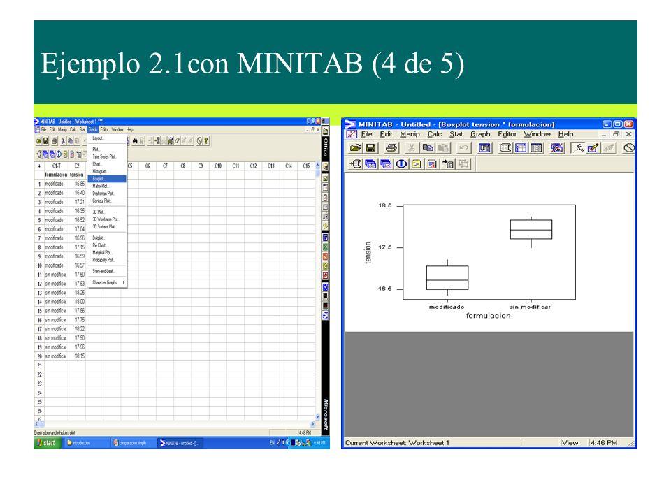 Ejemplo 2.1con MINITAB (4 de 5)