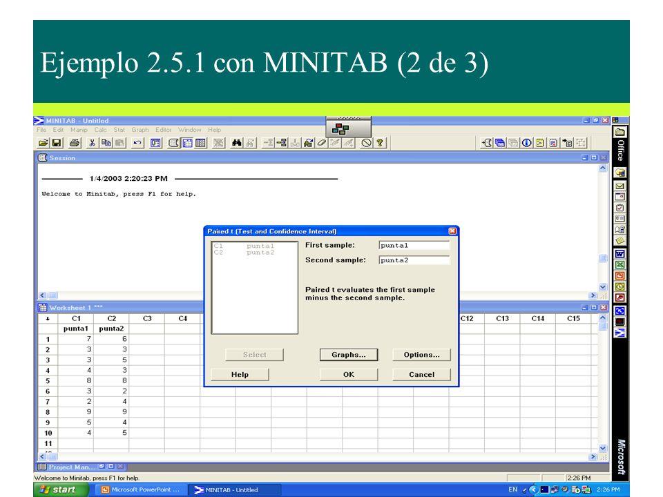 Ejemplo 2.5.1 con MINITAB (2 de 3)