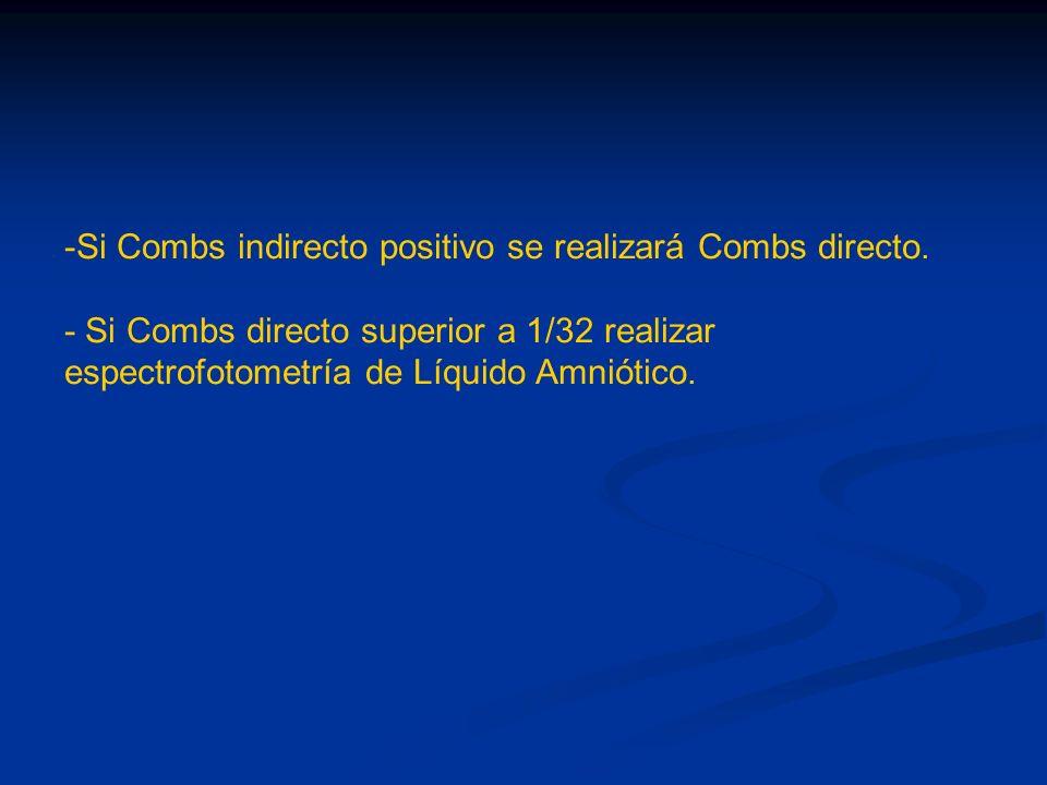 Si Combs indirecto positivo se realizará Combs directo.