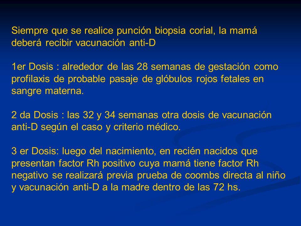 Siempre que se realice punción biopsia corial, la mamá deberá recibir vacunación anti-D