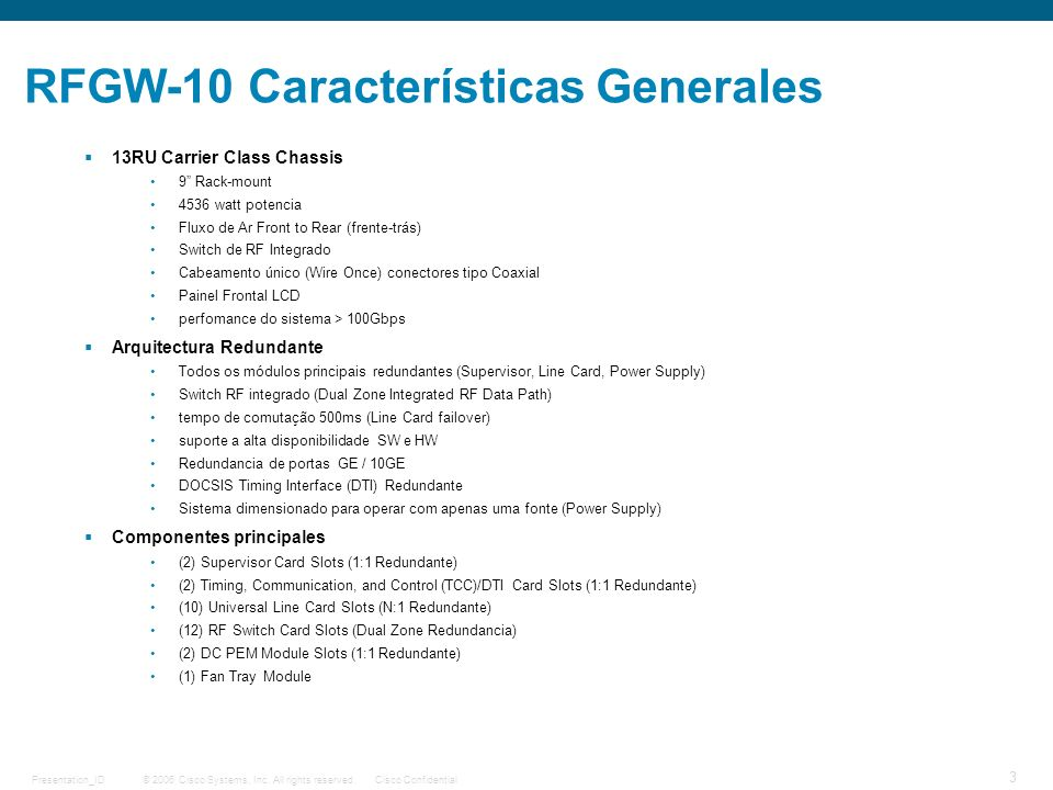 RFGW-10 Características Generales