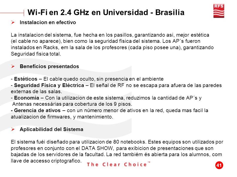 Wi-Fi en 2.4 GHz en Universidad - Brasilia