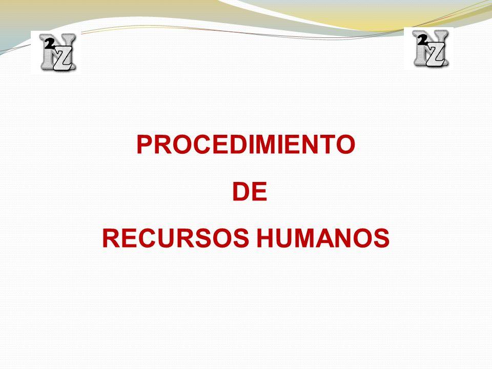 PROCEDIMIENTO DE RECURSOS HUMANOS