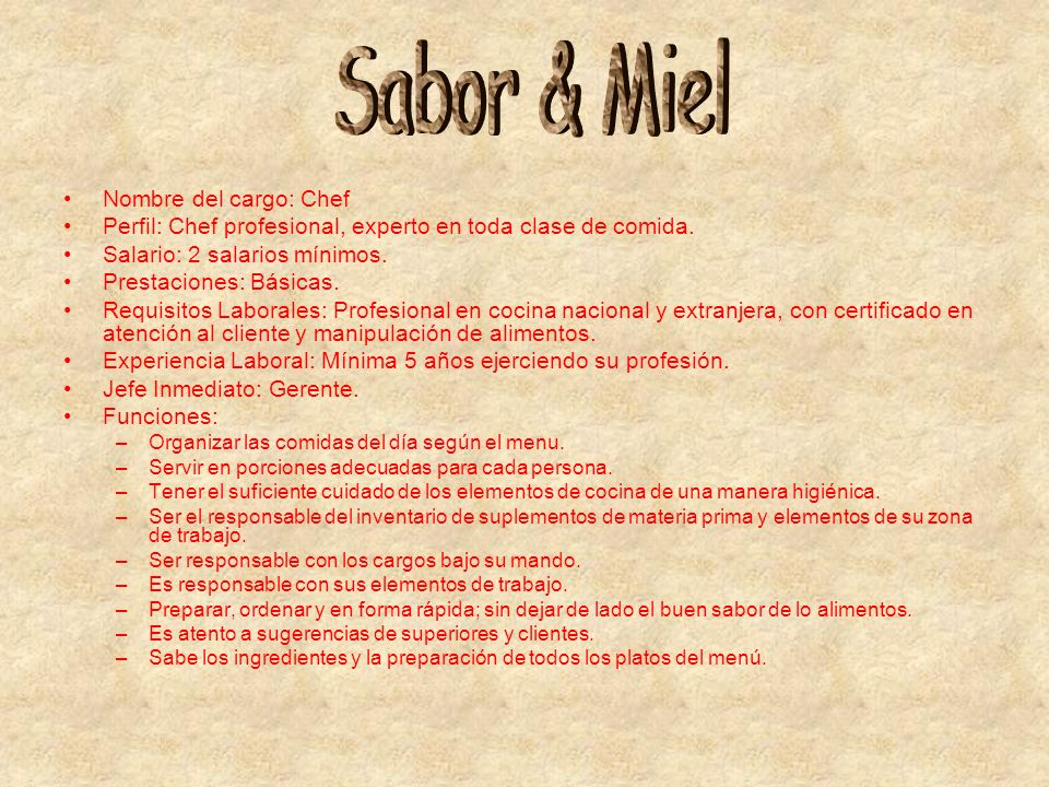 Sabor & Miel Nombre del cargo: Chef