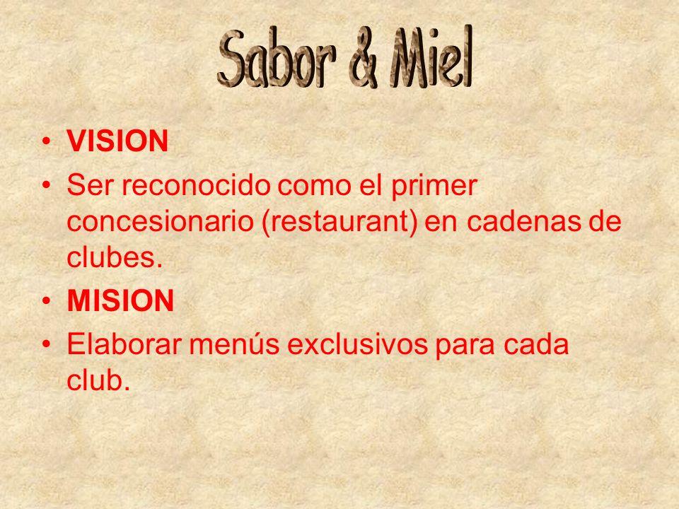 Sabor & Miel VISION. Ser reconocido como el primer concesionario (restaurant) en cadenas de clubes.