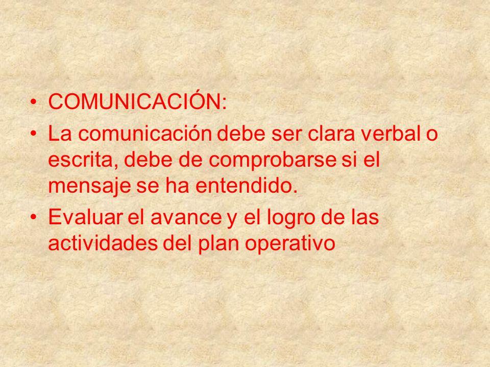 COMUNICACIÓN:La comunicación debe ser clara verbal o escrita, debe de comprobarse si el mensaje se ha entendido.