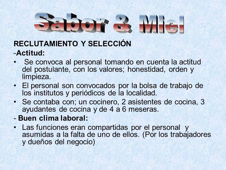 Sabor & Miel RECLUTAMIENTO Y SELECCIÓN -Actitud: