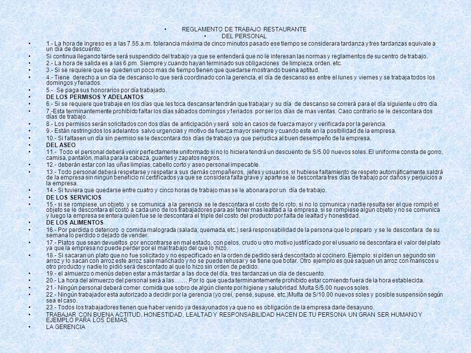 REGLAMENTO DE TRABAJO RESTAURANTE