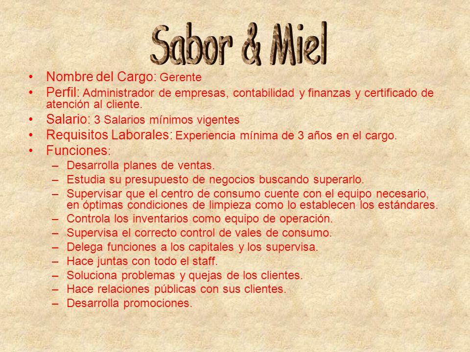 Sabor & Miel Nombre del Cargo: Gerente