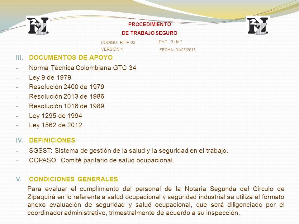 Norma Técnica Colombiana GTC 34 Ley 9 de 1979 Resolución 2400 de 1979