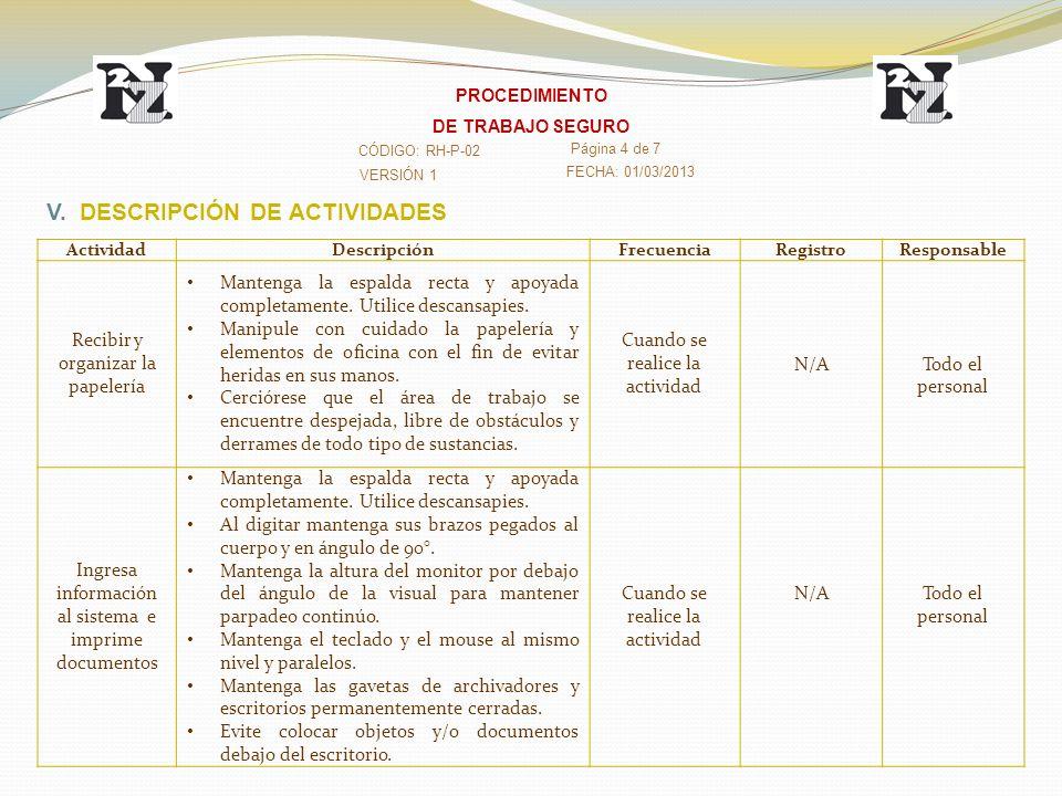 V. DESCRIPCIÓN DE ACTIVIDADES