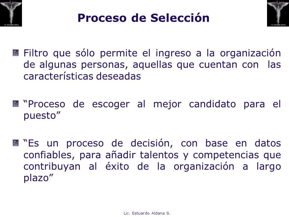 Proceso de Selección Filtro que sólo permite el ingreso a la organización de algunas personas, aquellas que cuentan con las características deseadas.