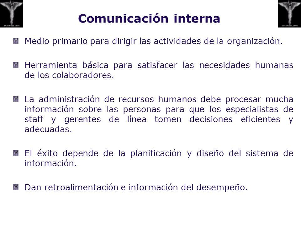 Comunicación interna Medio primario para dirigir las actividades de la organización.