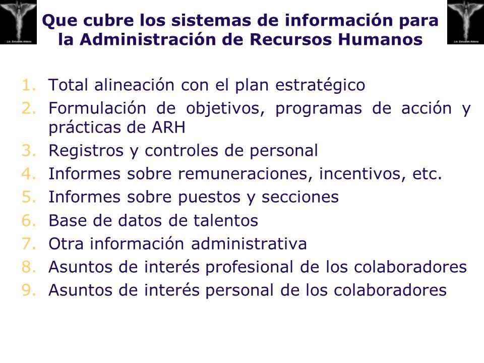Que cubre los sistemas de información para la Administración de Recursos Humanos