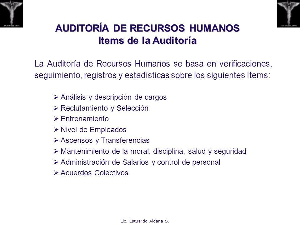 AUDITORÍA DE RECURSOS HUMANOS Items de la Auditoría