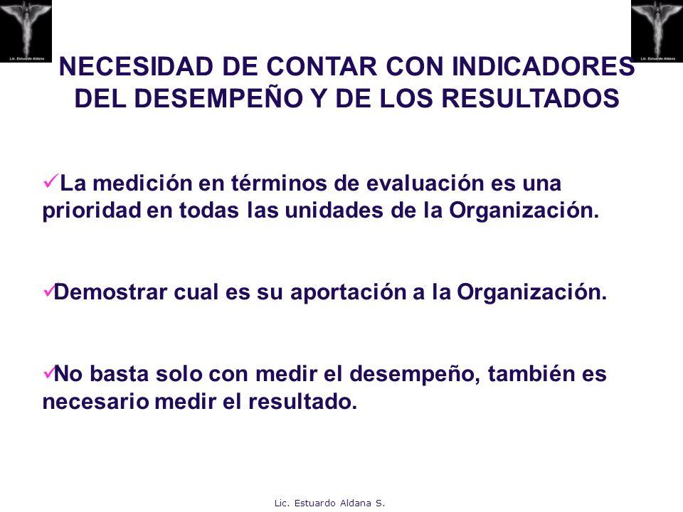 NECESIDAD DE CONTAR CON INDICADORES DEL DESEMPEÑO Y DE LOS RESULTADOS