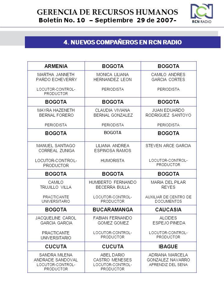4. NUEVOS COMPAÑEROS EN RCN RADIO