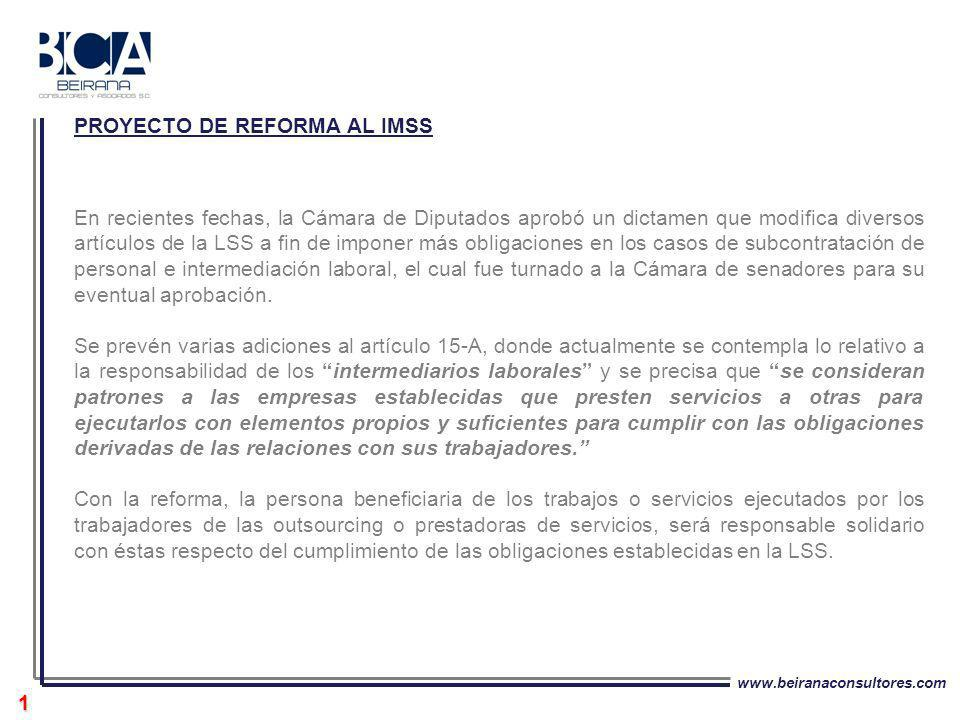 PROYECTO DE REFORMA AL IMSS