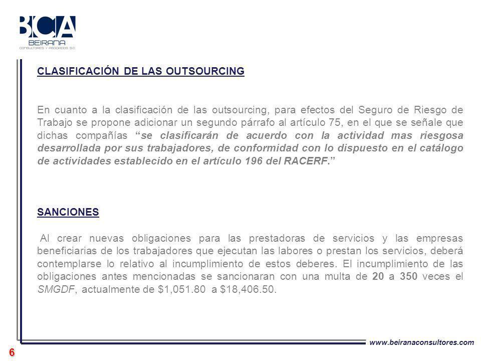 CLASIFICACIÓN DE LAS OUTSOURCING