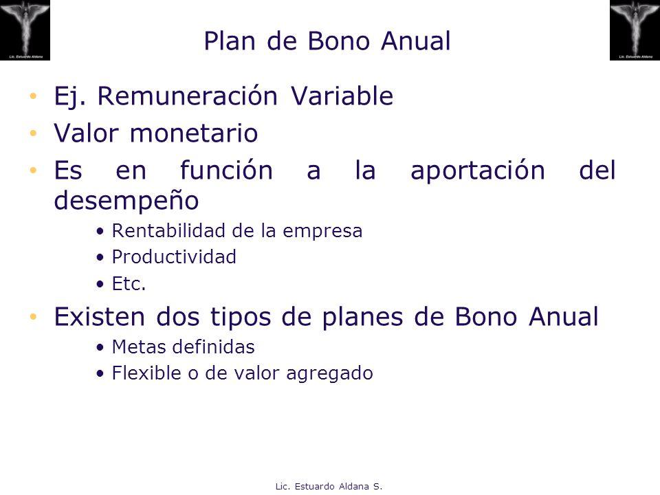 Ej. Remuneración Variable Valor monetario