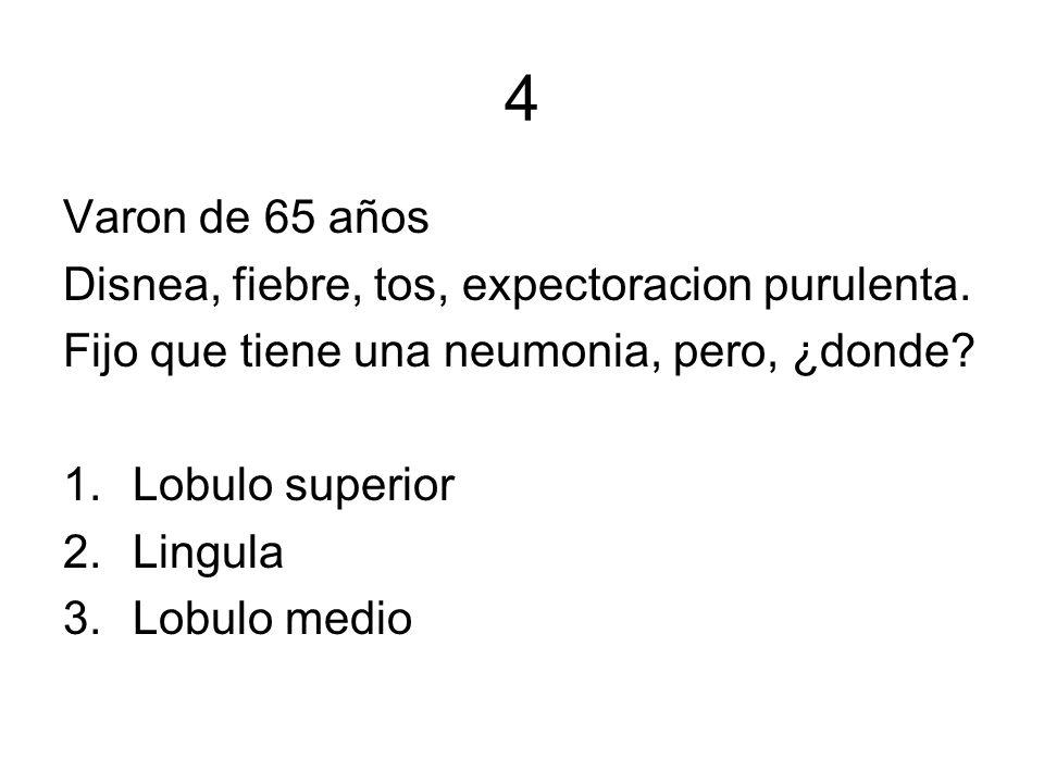 4 Varon de 65 años Disnea, fiebre, tos, expectoracion purulenta.