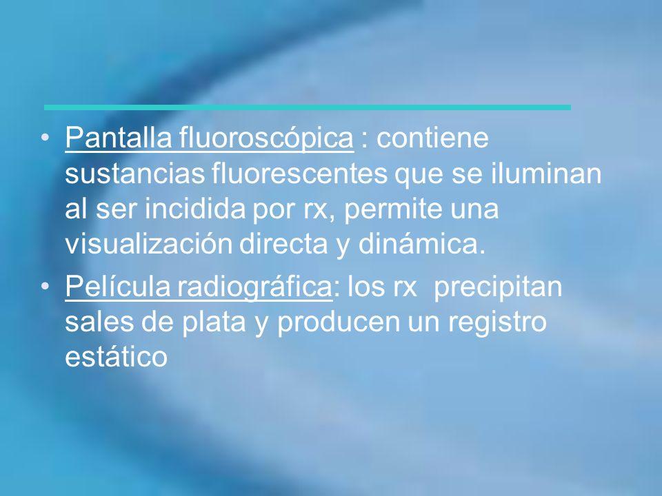 Pantalla fluoroscópica : contiene sustancias fluorescentes que se iluminan al ser incidida por rx, permite una visualización directa y dinámica.