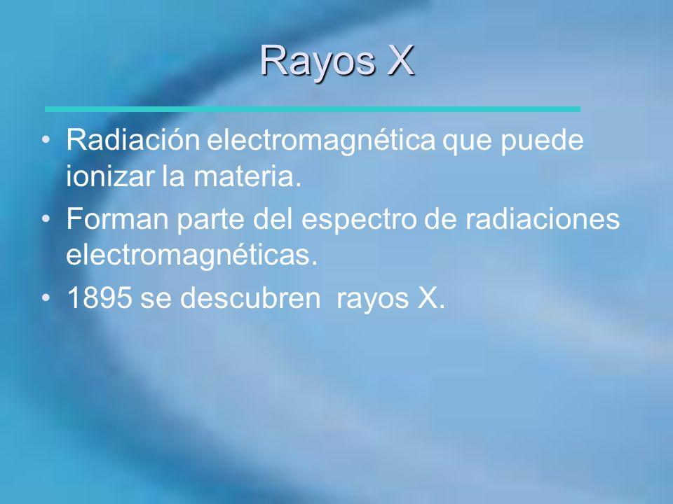 Rayos X Radiación electromagnética que puede ionizar la materia.