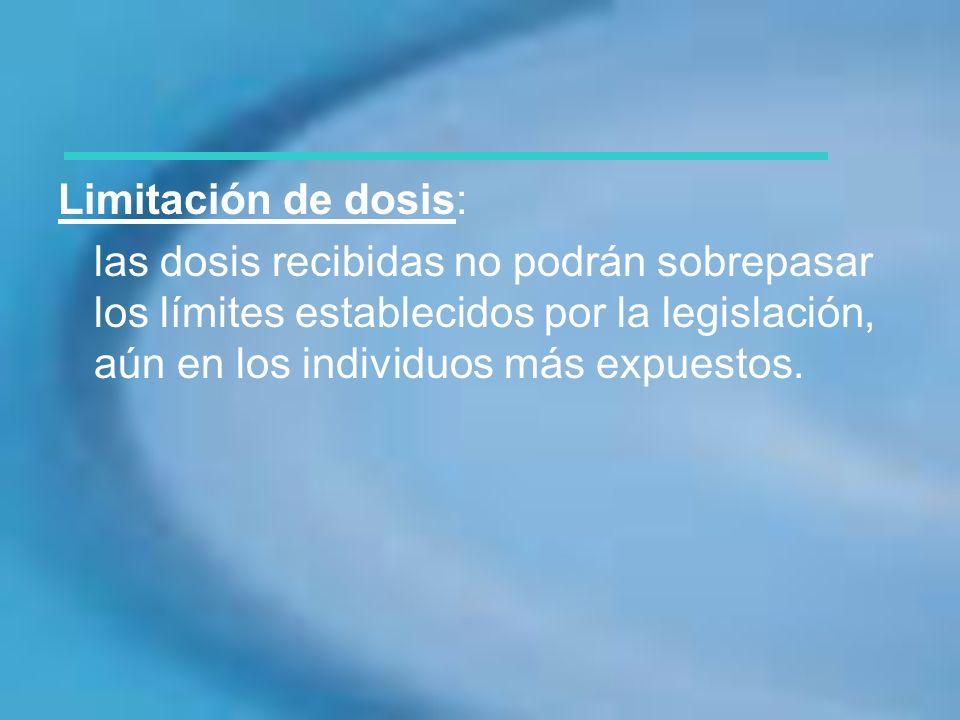 Limitación de dosis:las dosis recibidas no podrán sobrepasar los límites establecidos por la legislación, aún en los individuos más expuestos.