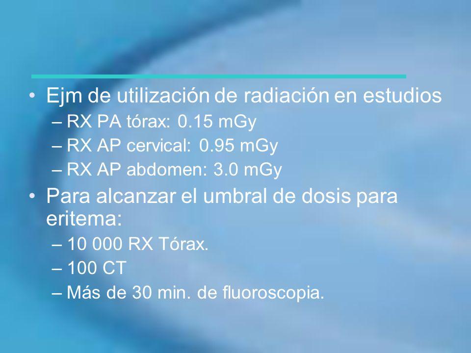 Ejm de utilización de radiación en estudios
