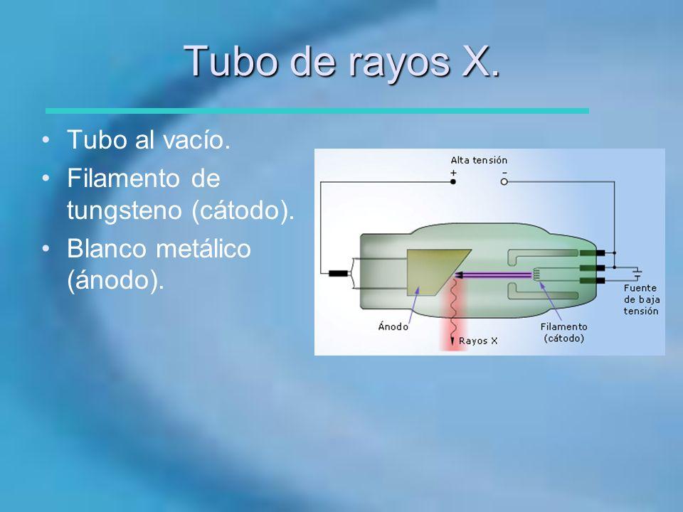 Tubo de rayos X. Tubo al vacío. Filamento de tungsteno (cátodo).