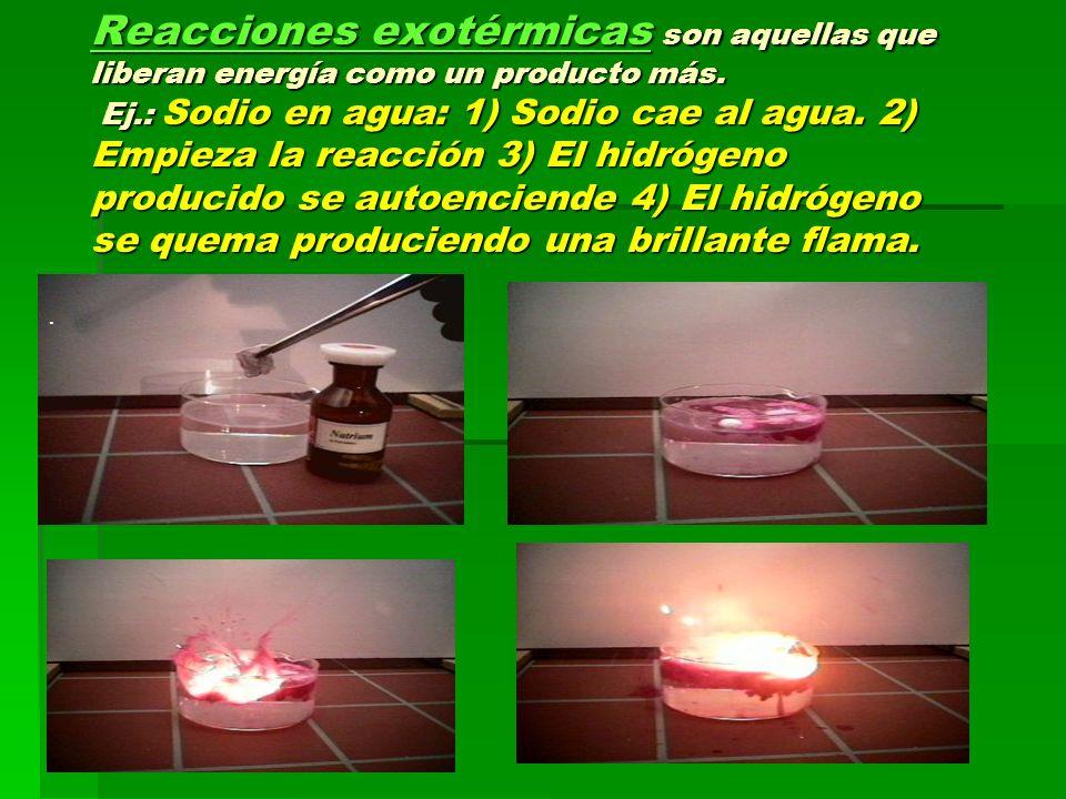 Reacciones exotérmicas son aquellas que liberan energía como un producto más. Ej.: Sodio en agua: 1) Sodio cae al agua. 2) Empieza la reacción 3) El hidrógeno producido se autoenciende 4) El hidrógeno se quema produciendo una brillante flama.