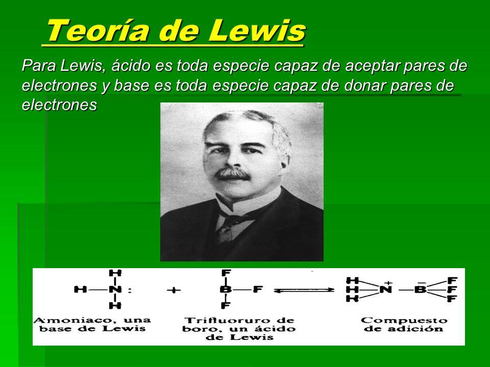 Teoría de Lewis Para Lewis, ácido es toda especie capaz de aceptar pares de electrones y base es toda especie capaz de donar pares de electrones.