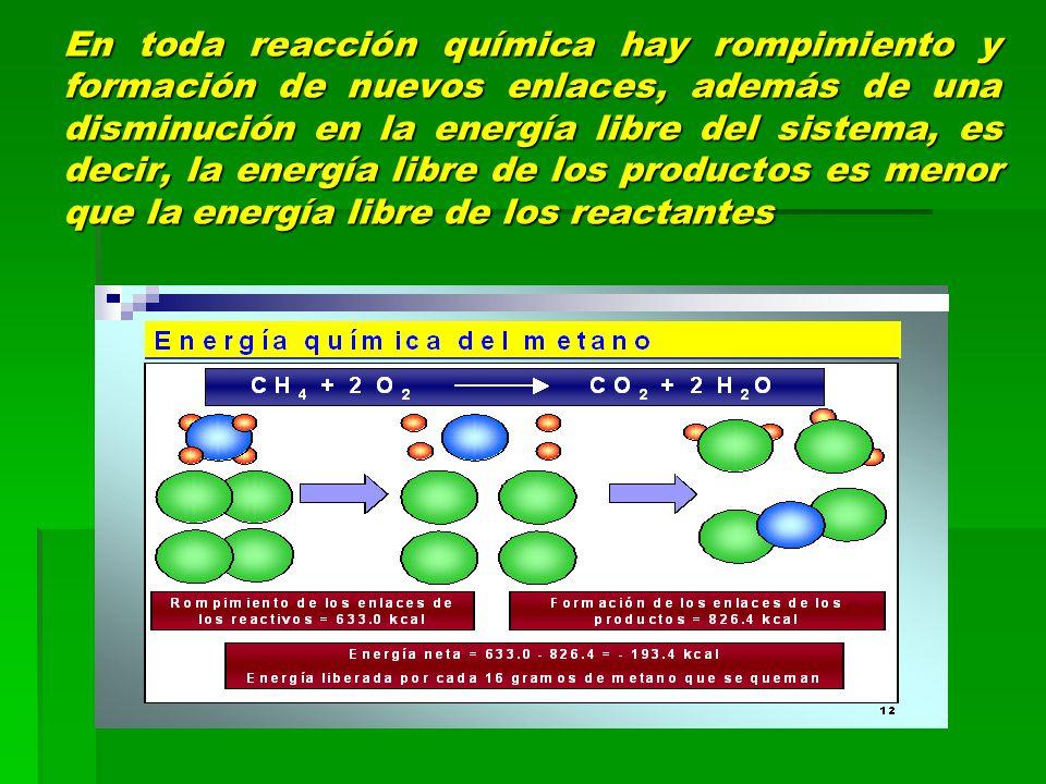 En toda reacción química hay rompimiento y formación de nuevos enlaces, además de una disminución en la energía libre del sistema, es decir, la energía libre de los productos es menor que la energía libre de los reactantes