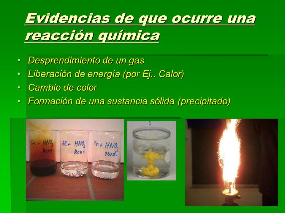 Evidencias de que ocurre una reacción química