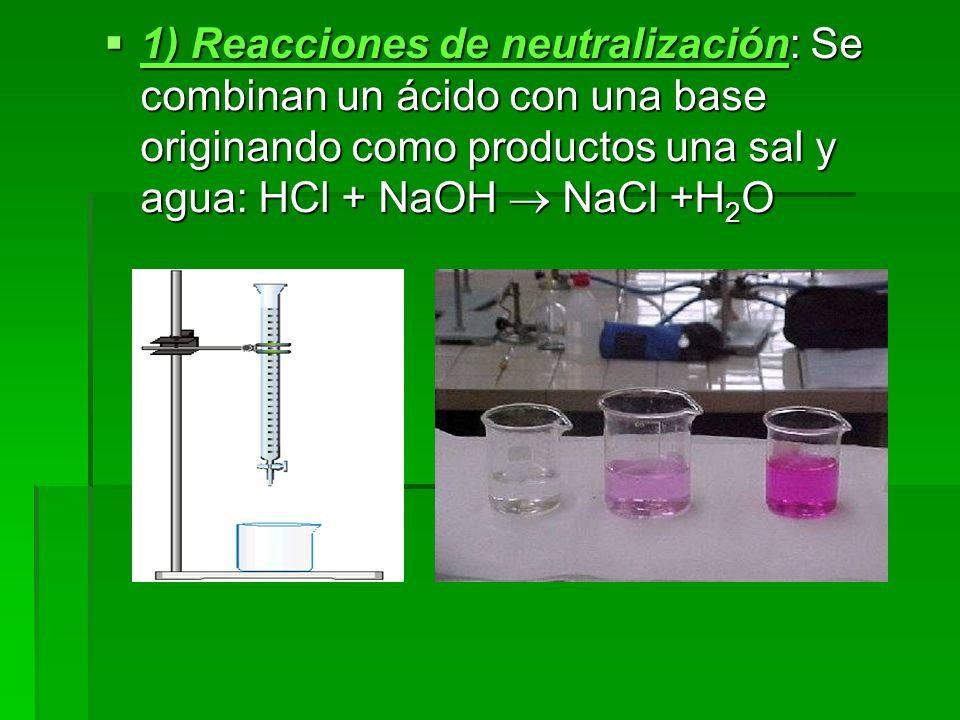 1) Reacciones de neutralización: Se combinan un ácido con una base originando como productos una sal y agua: HCl + NaOH  NaCl +H2O