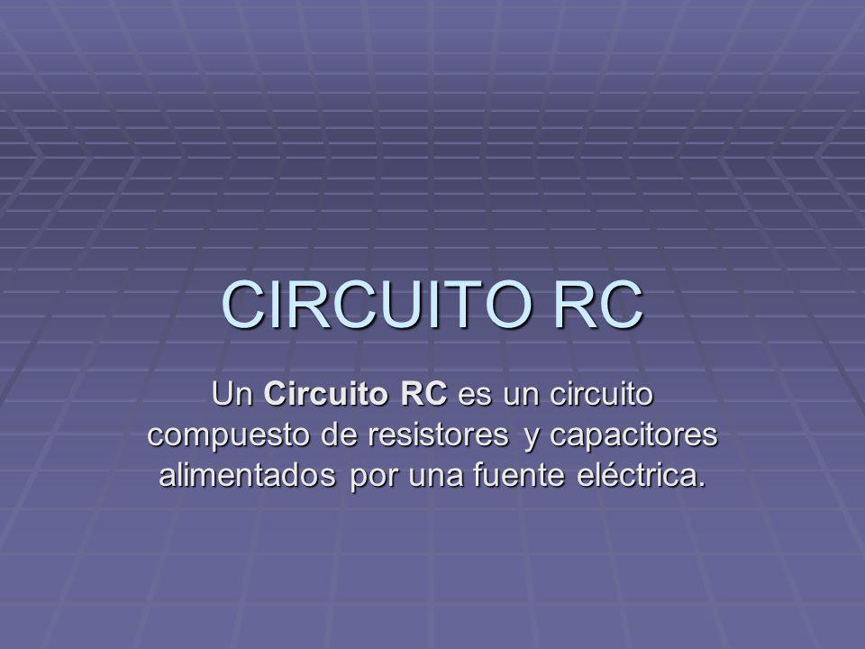 CIRCUITO RCUn Circuito RC es un circuito compuesto de resistores y capacitores alimentados por una fuente eléctrica.