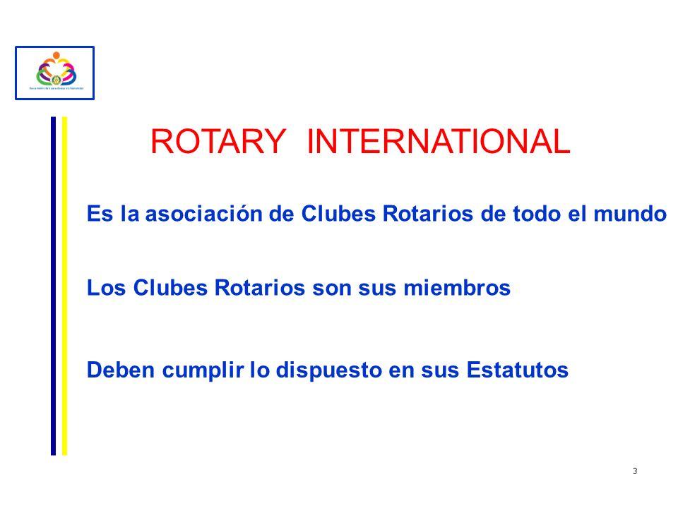 ROTARY INTERNATIONAL Es la asociación de Clubes Rotarios de todo el mundo. Los Clubes Rotarios son sus miembros.