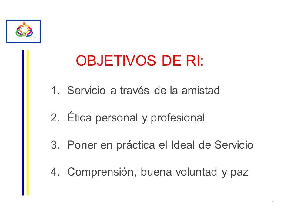 OBJETIVOS DE RI: Servicio a través de la amistad