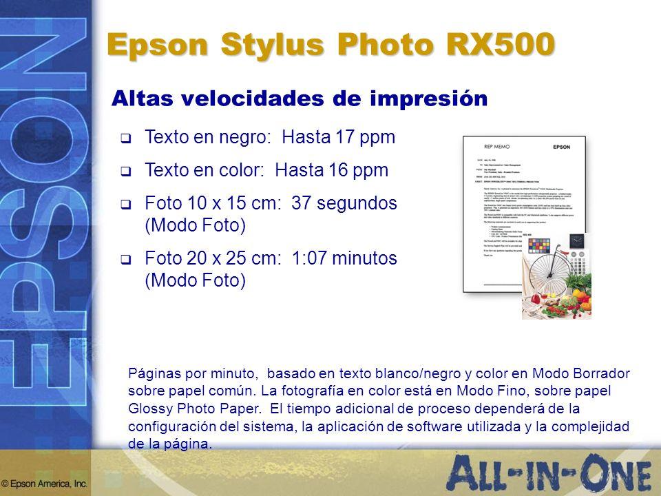 Epson Stylus Photo RX500 Altas velocidades de impresión