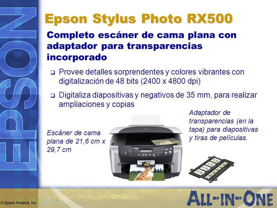 Epson Stylus Photo RX500Completo escáner de cama plana con adaptador para transparencias incorporado.