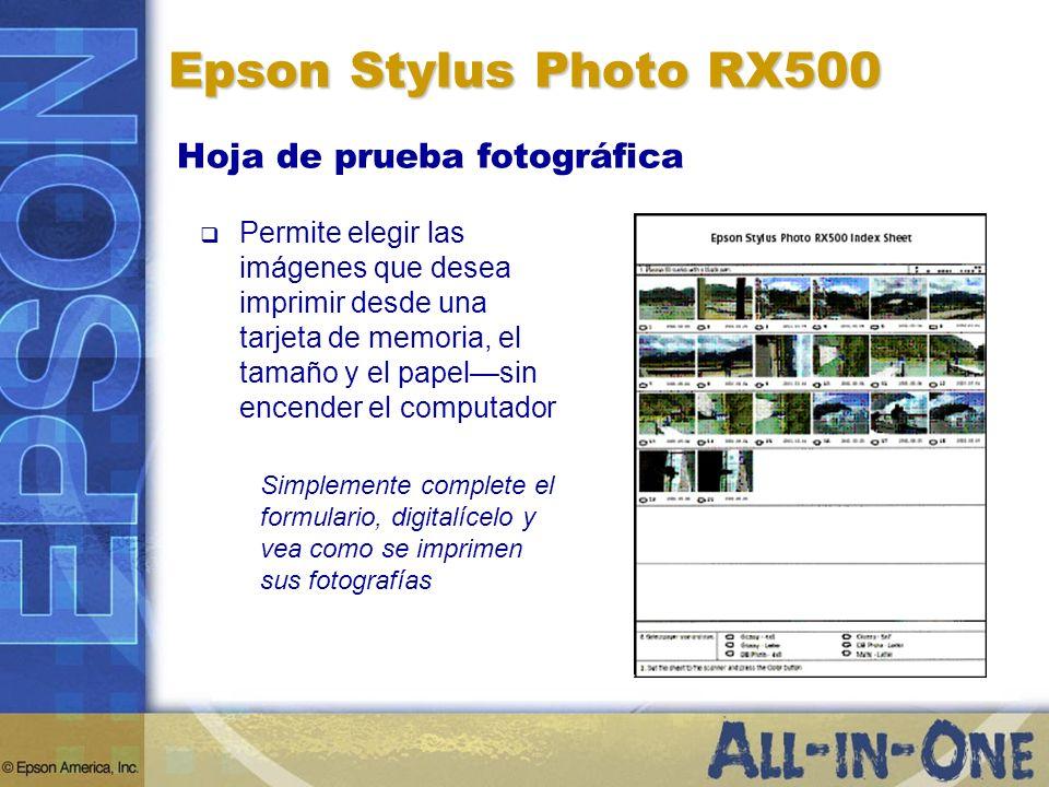 Epson Stylus Photo RX500 Hoja de prueba fotográfica